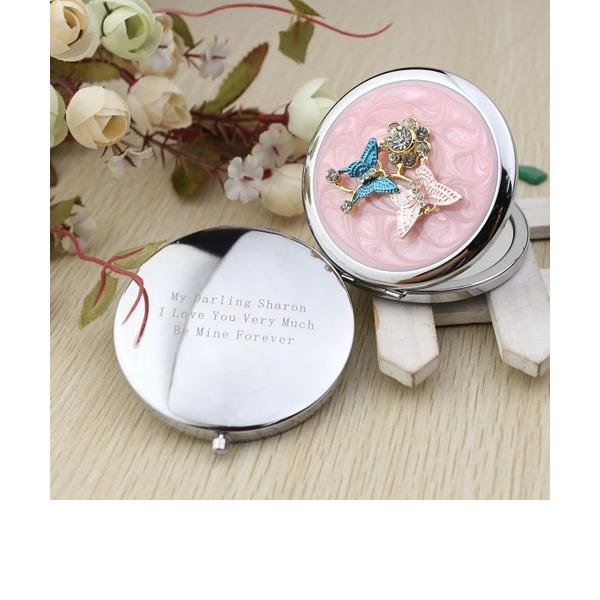 Персонализированные Бабочка Хром Компактные зеркала с Алмазный Rhinestone