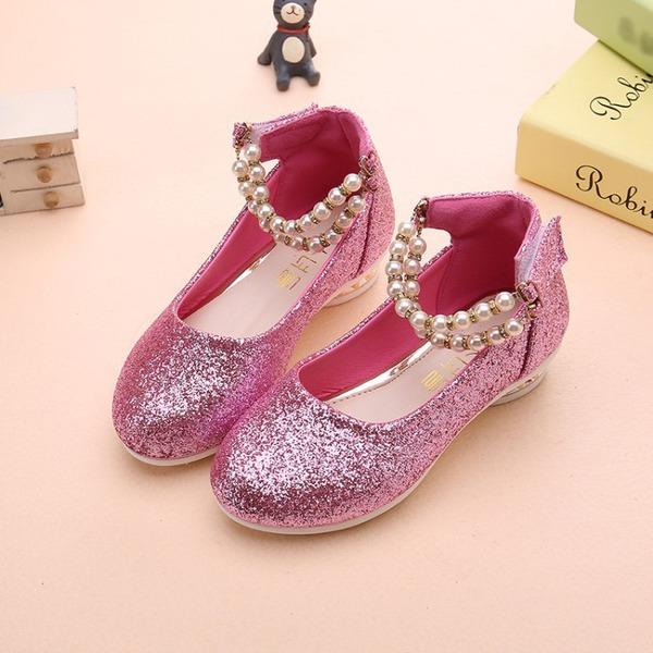 Girl's Ronde neus sprankelende glitter Flat Heel Flats Bloemenmeisje schoenen met Imitatie Parel Sprankelende Glitter Velcro