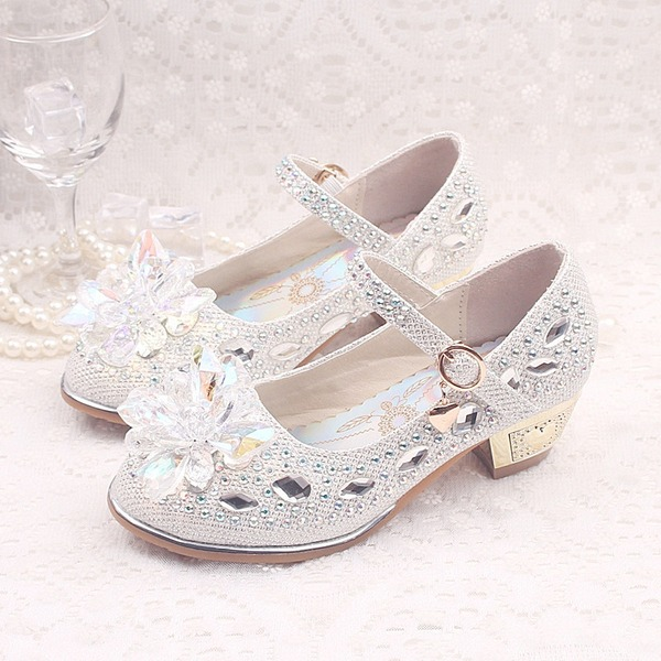 Girl's Leatherette Flat Heel Closed Toe Flats With Buckle Rhinestone