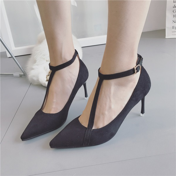 Women's Suede Stiletto Heel Pumps Closed Toe With Buckle Others shoes