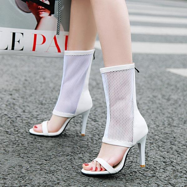 Kvinnor Konstläder Stilettklack Sandaler Pumps Stövlar Peep Toe med Zipper skor