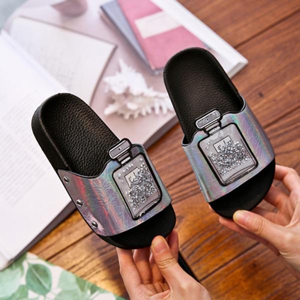 Unisex Peep Toe Leatherette Flats Slippers With Crystal