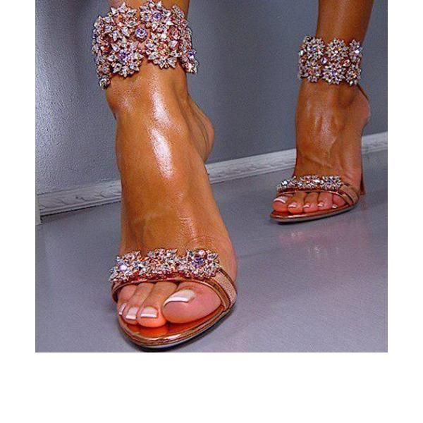 Frauen Kunstleder Stöckel Absatz Sandalen mit Kristall Reißverschluss Schuhe