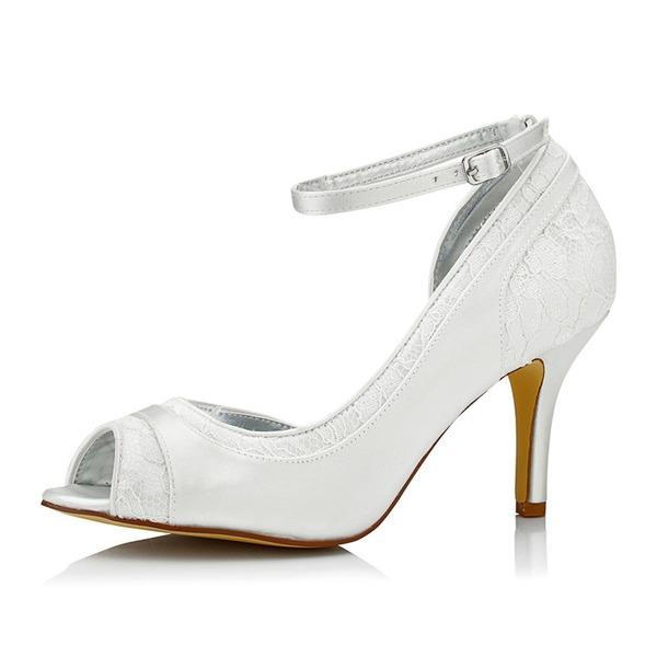 Femmes Dentelle Satiné Talon stiletto À bout ouvert Sandales Chaussures qu'on peut teindre