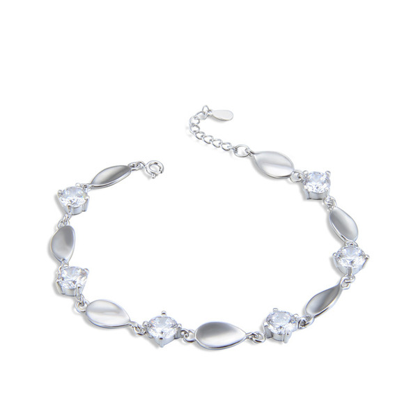 Ladies' Beautiful 925 Sterling Silver With Pear Cubic Zirconia Bracelets For Bride/For Bridesmaid
