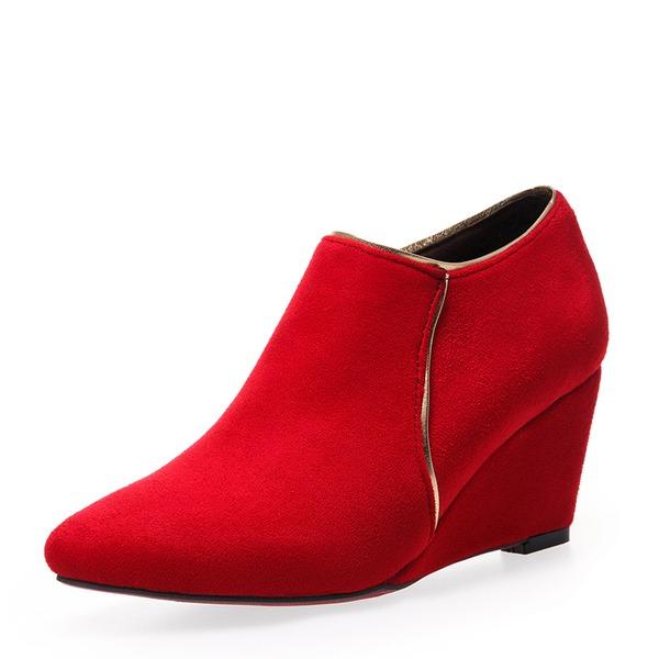 Kvinnor Mocka Kilklack Pumps Kilar med Zipper skor