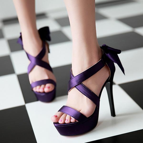 Vrouwen Satijn Stiletto Heel Sandalen Pumps Peep Toe met Gesp schoenen