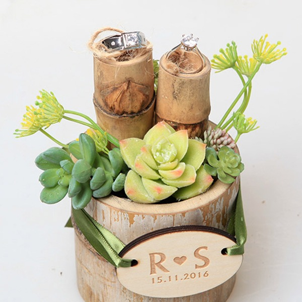 Personalized Bamboo Ring Holder With Artifical Plants