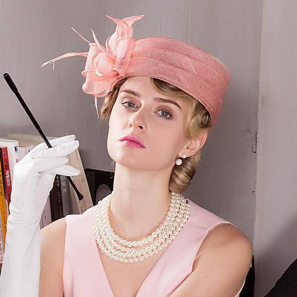 Dames Mode/Glamour/Exquis/Exceptionnel/Accrocheur/Romantique/Style Vintage Batiste avec Feather Béret Chapeau