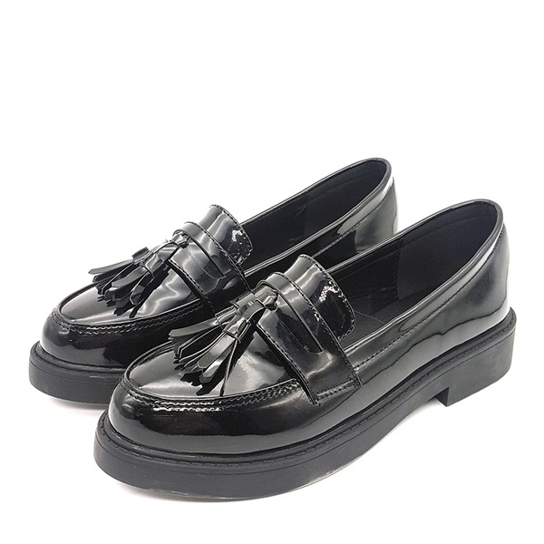 Frauen Kunstleder Flascher Absatz Flache Schuhe Geschlossene Zehe mit Bowknot Schuhe