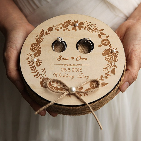 Personalized Wood Ring Holder With Rustic Twine