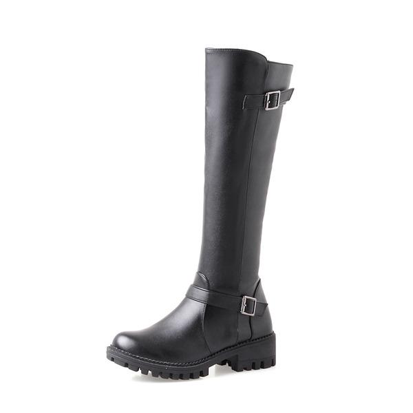 Kvinnor PU Låg Klack Pumps Plattform Stövlar Knäkickkängor med Spänne Zipper skor