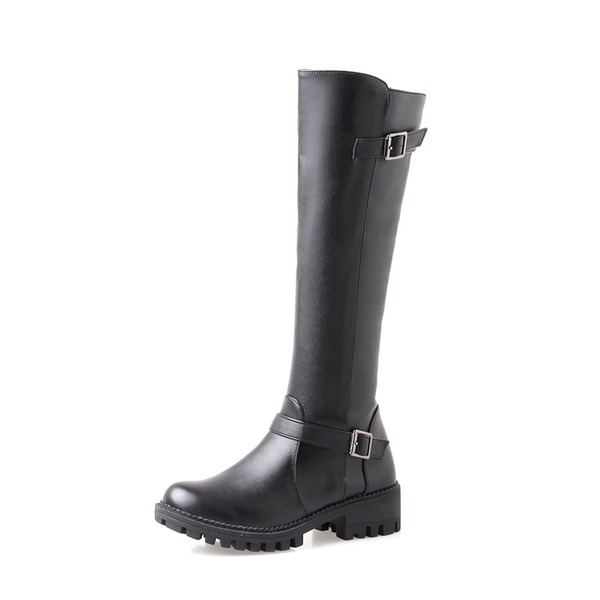 Women's PU Low Heel Pumps Platform Boots Knee High Boots With Buckle Zipper shoes
