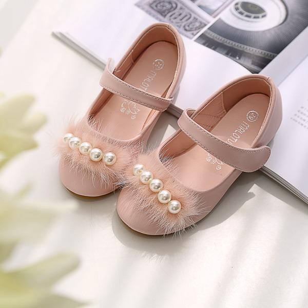 Mädchens Round Toe Geschlossene Zehe Microfaser-Leder Flache Ferse Flache Schuhe Blumenmädchen Schuhe mit Stich Spitzen Klettverschluss