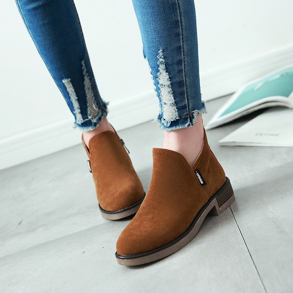 Kvinner Semsket Stor Hæl Pumps Støvler Ankelstøvler med Glidelås Annet sko