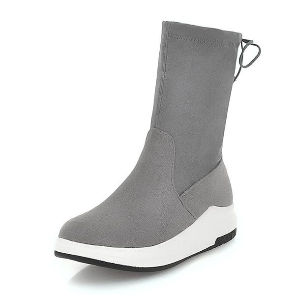 Kvinner Semsket Flat Hæl Kiler Støvler Mid Leggen Støvler med Elastisk bånd sko