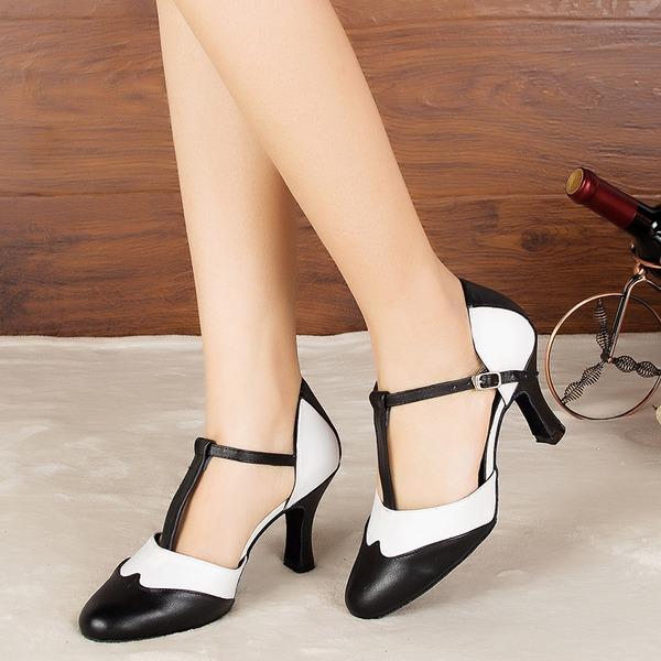 De mujer Cuero Tacones Sandalias Salón Sala de Baile con Tira T Zapatos de danza