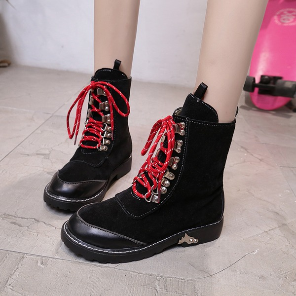 Women's Suede Low Heel Closed Toe Boots Ankle Boots Martin Boots With Lace-up shoes