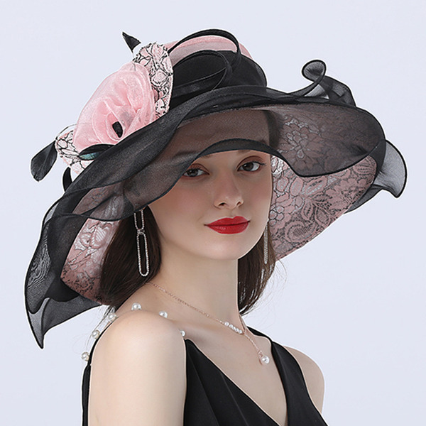 Ladies ' Nejžhavější/Romantický Organza S Silk Flower Pláž / sluneční klobouky/Čajové klobouky