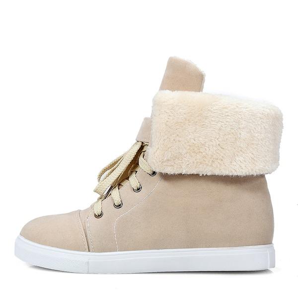 Frauen Veloursleder Flascher Absatz Geschlossene Zehe Stiefel Stiefel-Wadenlang Schneestiefel Martin Stiefel mit Zuschnüren Schuhe