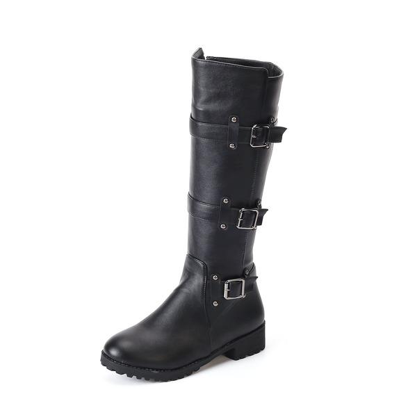 Kvinner Lær Flat Hæl Støvler Mid Leggen Støvler med Spenne sko