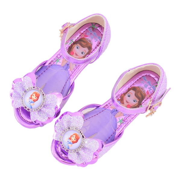 Fille de À bout ouvert similicuir talon plat Sandales Chaussures de fille de fleur avec Bowknot Boucle