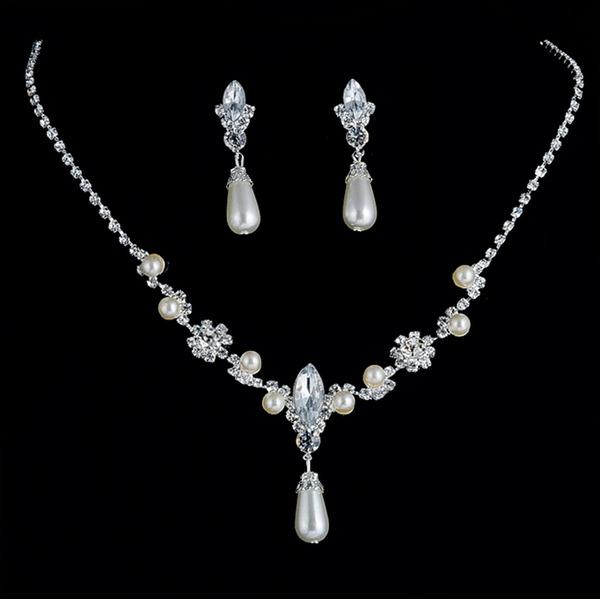 Glänzende Legierung Strasssteine Faux-Perlen Frauen Schmuck Sets