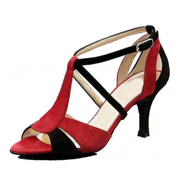 Donna Camoscio Tacchi Sandalo Latino Scarpe da ballo