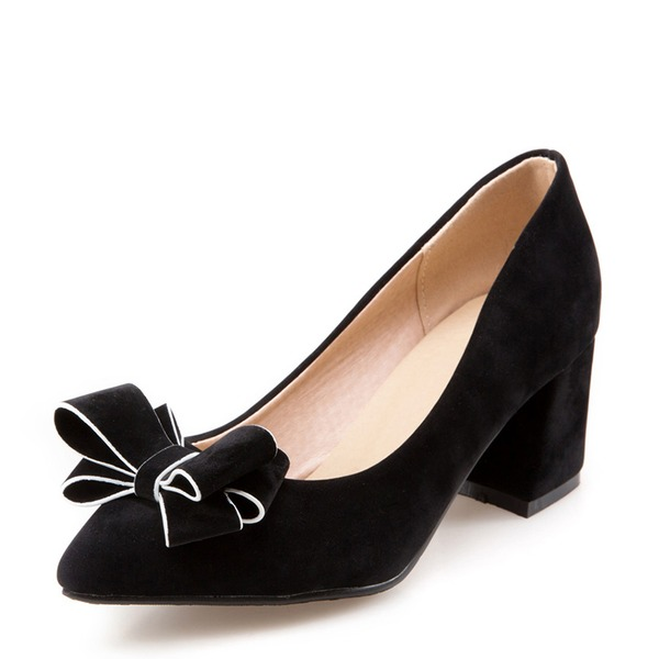 Frauen Veloursleder Stämmiger Absatz Absatzschuhe mit Bowknot Schuhe