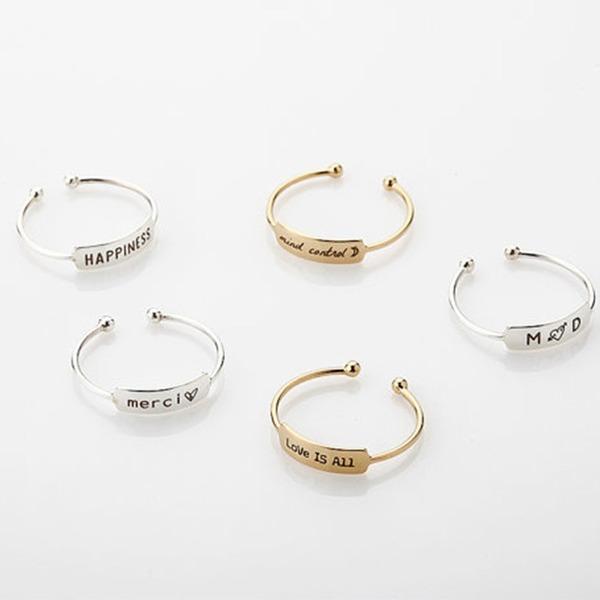 Personalizado Senhoras Chic 925 prata esterlina Nome/Gravado Anéis Ela/Amigos/Noiva/Dama de honra/Menina das flores