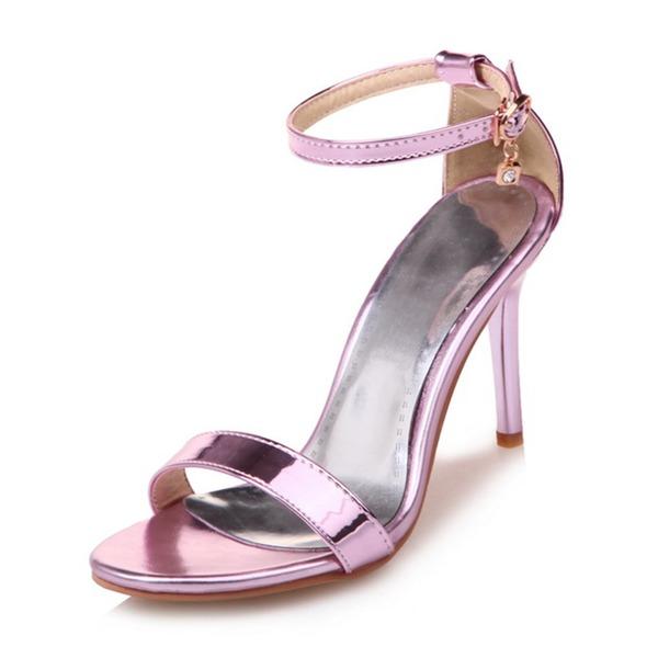 Vrouwen Patent Leather Stiletto Heel Sandalen Pumps met Strass Gesp schoenen