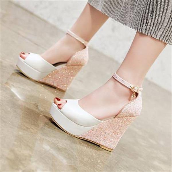 Kvinder Kunstlæder Kile Hæl sandaler Pumps med Delt Bindeled sko