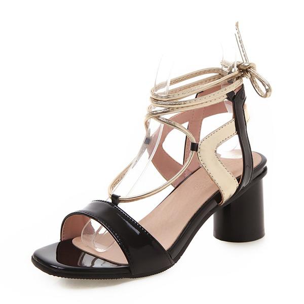 Женщины Лакированная кожа PU Устойчивый каблук Сандалии На каблуках Открытый мыс Босоножки с Шнуровка обувь