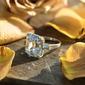 Sterling Silver Cyrkonia Aureola Krój Bagietki Pierścionek zaręczynowy Krążki Obietnica