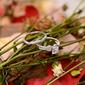 Plata esterlina Zirconia cúbica Delicado Corte Redondo Anillos de promesa Conjuntos de novia -