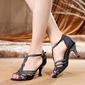Women's Satin Latin With Rhinestone Buckle Dance Shoes